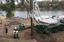 Piling alongside the Vaal River